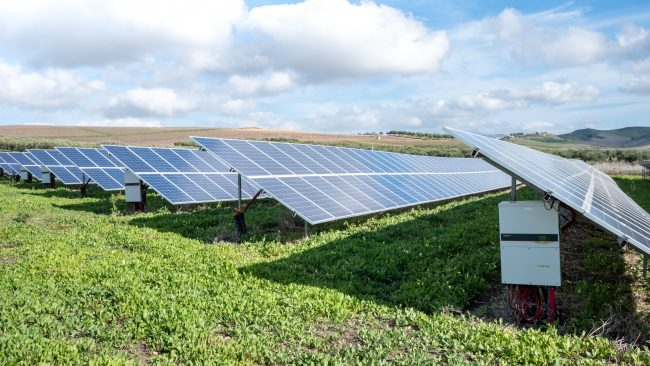 Photovoltaic PV plant ground mounted with string inverters